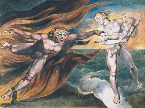 The Good and Evil Angels 1795/?circa 1805 by William Blake 1757-1827